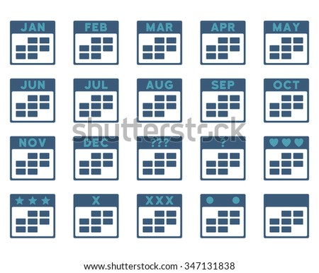 Calendar Months vector icon. Style is bicolor flat symbols, cyan and blue colors, rounded angles, white background. - stock vector