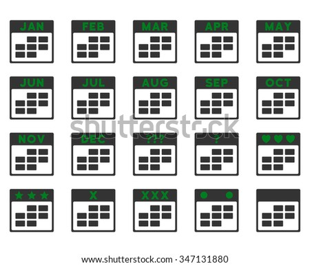 Calendar Months vector icon. Style is bicolor flat symbols, green and gray colors, rounded angles, white background. - stock vector