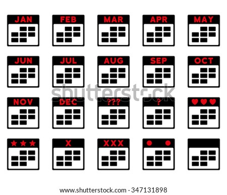 Calendar Months vector icon. Style is bicolor flat symbols, intensive red and black colors, rounded angles, white background. - stock vector