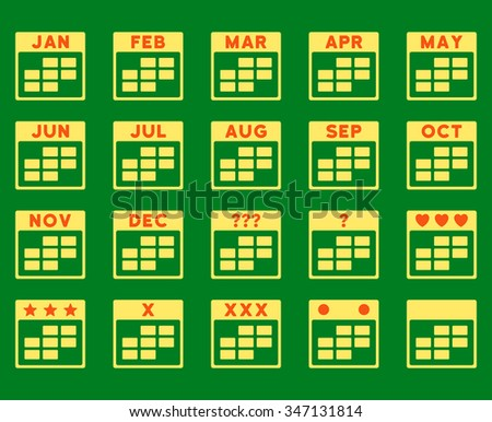 Calendar Months vector icon. Style is bicolor flat symbols, orange and yellow colors, rounded angles, green background. - stock vector