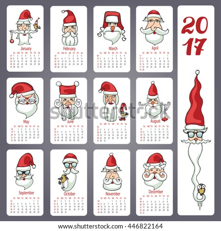 Calendar 2017 new year.Doodles Santa Claus faces,different characters.Hand drawing decor elements.Vintage Monthly cards.Retro vector illustration - stock vector