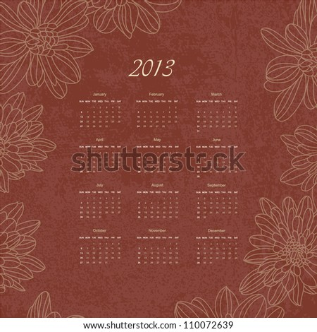 calendar new 2013 year hand drawing floral retro background design for card template sketch