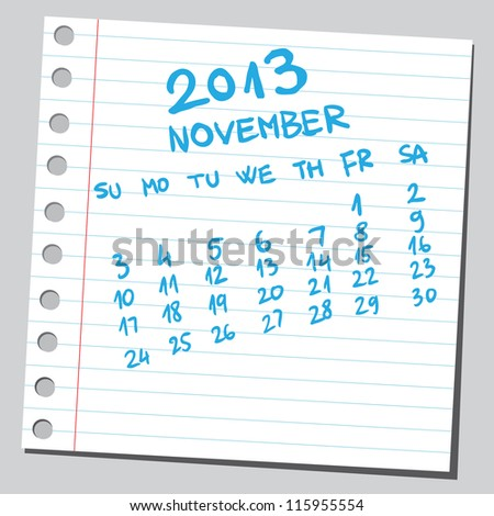 Calendar 2013 november (sketch style) - stock vector