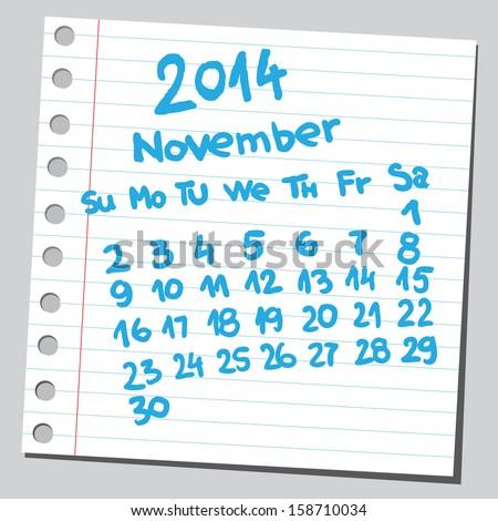 Calendar 2014 november (sketch style)  - stock vector