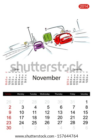 Calendar 2014, november. Streets of the city, sketch for your design - stock vector