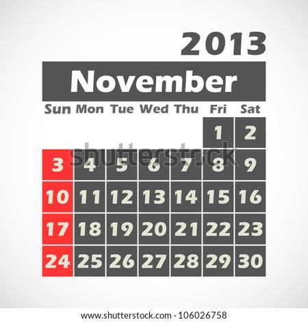 Calendar 2013.November.vector illustration. - stock vector