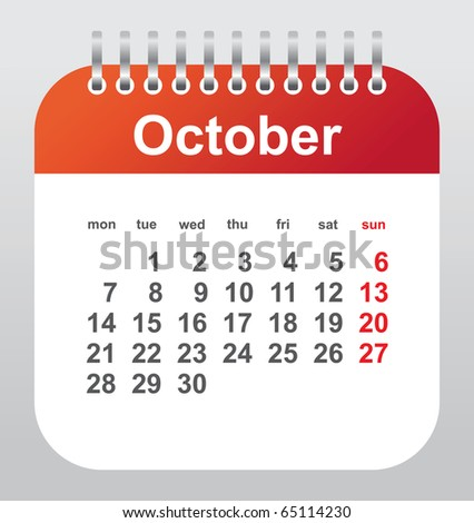 calendar 2011: october - stock vector