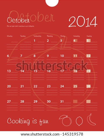 Calendar october 2014. Vector. - stock vector