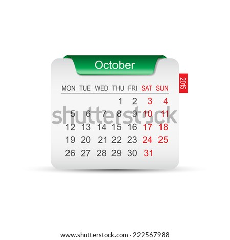 Calendar October 2015. Vector illustration  - stock vector
