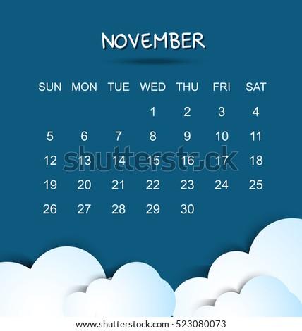 November 2017 Calendar Blue     Ma3Sa