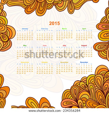 Calendar on a white background with an floral ornament Doodle. 2015. Ethno. Vector illustration. - stock vector