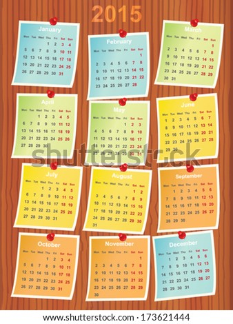 calendar 2015 on notes pinned to wood - stock vector