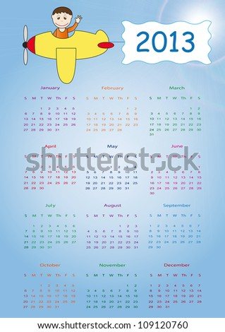Calendar on 2013 year - stock vector