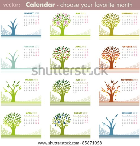 Calendar pages isolated on white. 2012 VECTOR