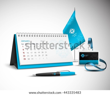 Calendar pen flag and badge corporate identity mockup set of blue color for your design on light background realistic vector illustration - stock vector