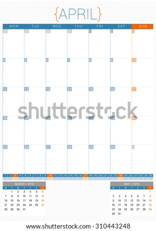 Calendar Planner 2016 Design Template. April. Week Starts Monday