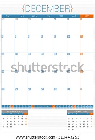 Calendar Planner 2016 Design Template. December. Week Starts Monday