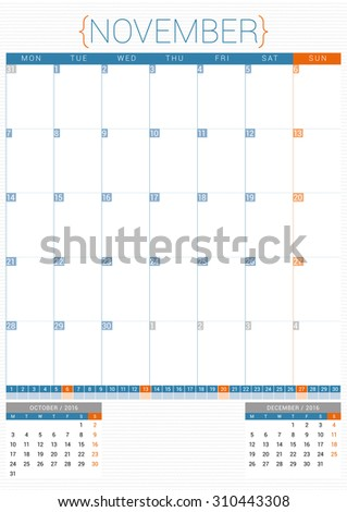 Calendar Planner 2016 Design Template. November. Week Starts Monday