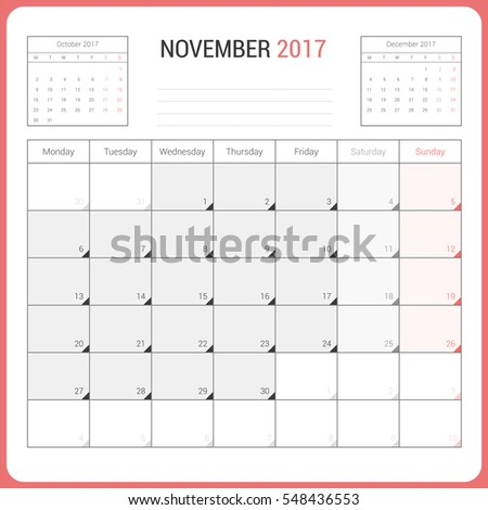 calendar planner november 2017