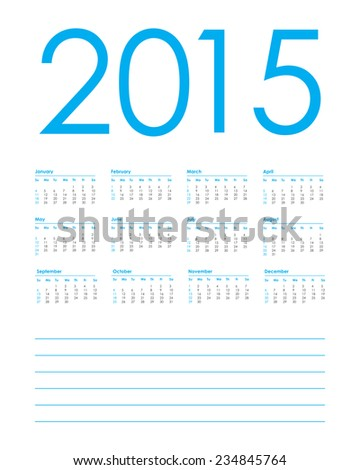 calendar planner for 2015, week starts with sunday, vector illustration - stock vector