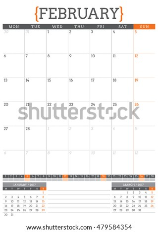 Calendar Planner for 2017 Year. Stationery Design Template. February. Week Starts Monday. Vector Illustration