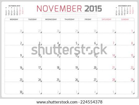 Calendar planner 2015 template week starts monday - stock vector