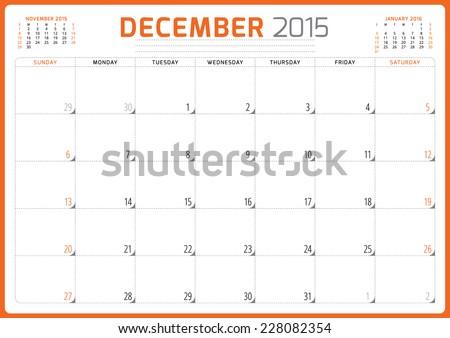 Calendar planner 2015 template week starts sunday vector illustration December month - stock vector