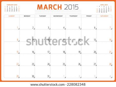 Calendar planner 2015 template week starts sunday vector illustration March month - stock vector