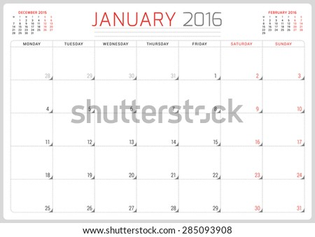 Calendar Planner 2016. Vector Design Template. January. Week Starts Monday - stock vector