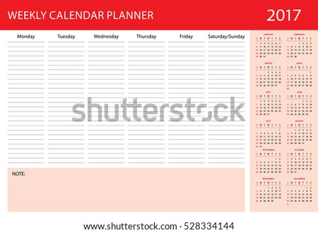 Calendar planner 2017 year on white background. Weekly personal calendar 2017. Week starts on Sunday. Simple red design. Vector print template