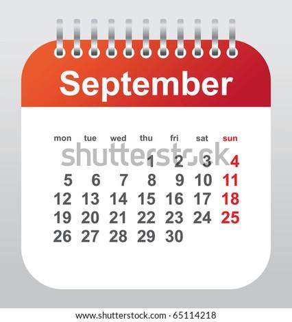 calendar 2011: september - stock vector