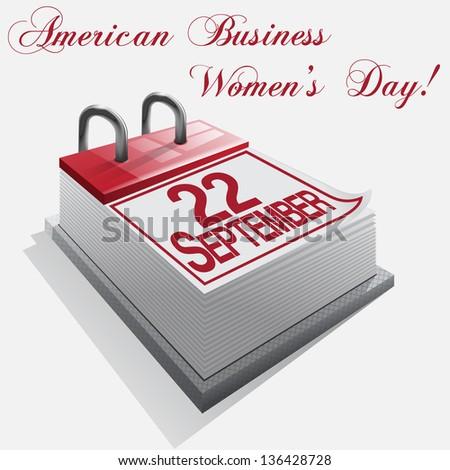 calendar 22 September American Business Women's Day.Vector - stock vector