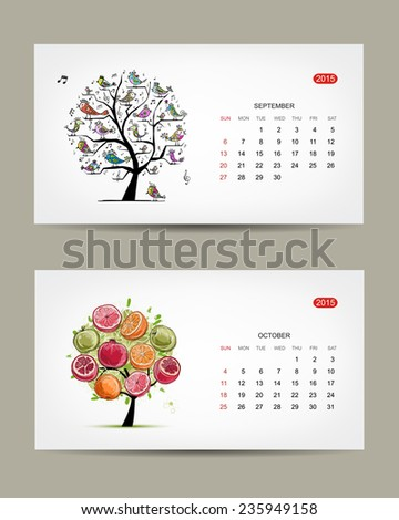 Calendar 2015, september and october months. Art tree design. Vector illustration - stock vector