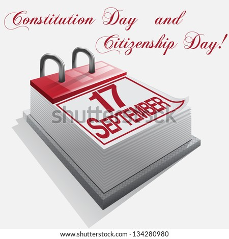 calendar 17 September Constitution Day and Citizenship Day.Vector - stock vector