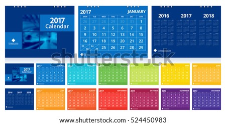 Calendar 2017 set include 12 months front cover and back cover 3 years. Desk calendar corporate design layout template vector week start on Monday. EPS-10.