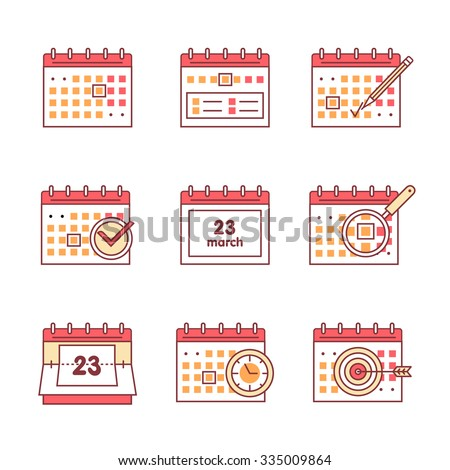 Calendar set. Thin line art icons. Flat style illustrations isolated on white. - stock vector