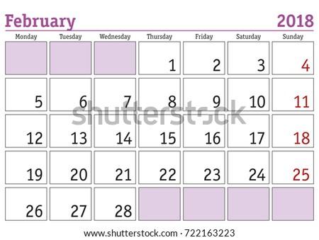 february 2018 weekly calendar