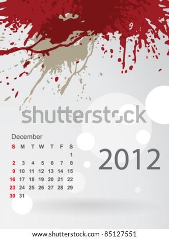 Calendar 2012 splashes of colour, December - stock vector