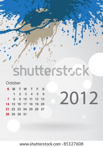 Calendar 2012 splashes of colour, October - stock vector