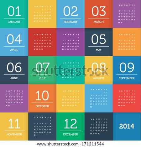 Calendar 2014 - square pattern - flat color - stock vector