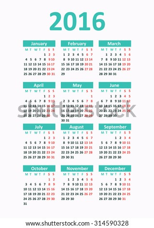 Calendar 2016 starting from Monday. Vector illustration - stock vector
