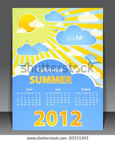 Calendar 2012 - Summer - stock vector