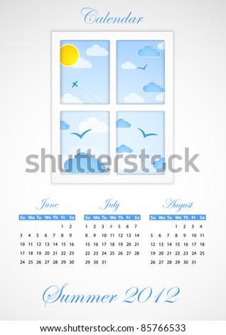 Calendar. Summer 2012 - stock vector