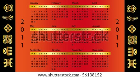 calendar symbol Red 2011 - stock vector