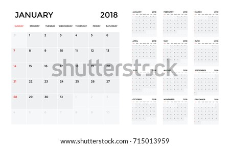 Calendar 2018 Template Calendar Planning Week Stock Vector 715013959
