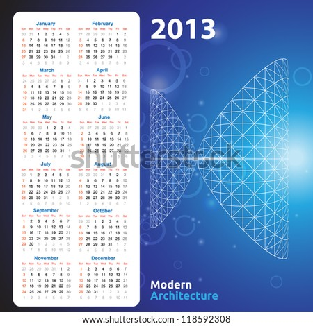 Calendar template for architectural firm - stock vector