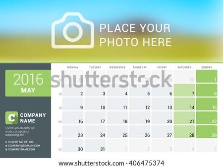Calendar Template for May 2016. Week Starts Monday. Planner Design Print Template. Vector Calendar. Stationery Design - stock vector