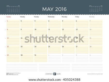 Calendar Template for May 2016. Week Starts Sunday. Planner Design Print Template. Vector Calendar. Stationery Design