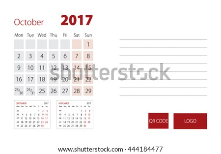 Calendar Template for October 2017