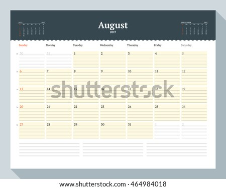 Calendar Template for 2017 Year. August. Business Planner Template. Stationery Design. Week starts Sunday. 3 Months on the Page. Vector Illustration
